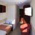 К каютам категории А1 комфорт с балконом относятся следующие номера кают: 401  Одноместная каюта с балконом со всеми удобствами, расположенная на шлюпочной палубе.